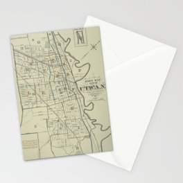 Vintage Map of Utica New York (1883) Stationery Cards