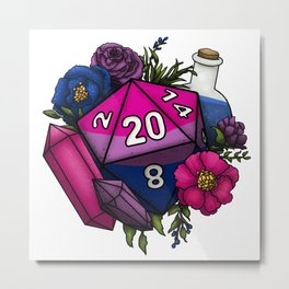 Pride Bisexual D20 Tabletop RPG Gaming Dice Metal Print
