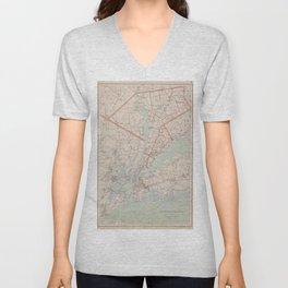 Vintage Map of Westchester County NY (1893) Unisex V-Neck