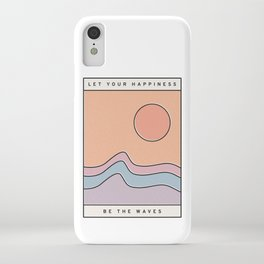 """Ocean Surf """"Let Your Happiness Be the Waves"""" // Chill Retro Minimalist Colorful California Summer  iPhone Case"""
