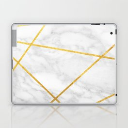 White Carrara marble with Gold Lines Laptop & iPad Skin
