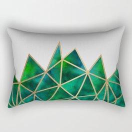 Emerald & Gold Geometric Rectangular Pillow
