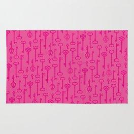 Pink Secret Keys Pattern Rug