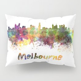 Melbourne skyline in watercolor Pillow Sham