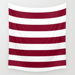 Oxblood - solid color - white stripes pattern Wall Tapestry