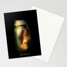 Lost Without You  (Lady In A Jar) Grunge  Stationery Cards