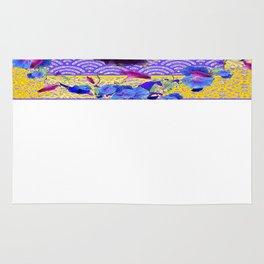 White-Purple Iris Blue Morning Glories Flower Art Pattern Rug