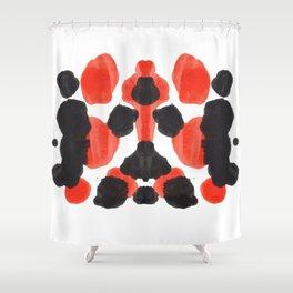 Red Orange & Black Ink Blot Diagram Shower Curtain