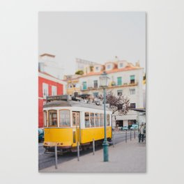 Yellow Tram in Lisbon Canvas Print