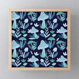 Mushroom Forest in Blue  Framed Mini Art Print