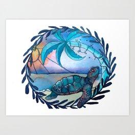 Tropicana sea turtle Art Print