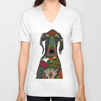 great dane V-neck T-shirts featuring Great Dane love white by Sharon Turner