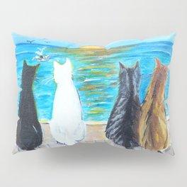 Cat Beach Sunset Pillow Sham