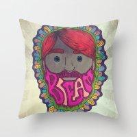 beard Throw Pillows featuring BEARD by kikkerART