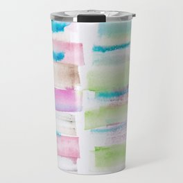 14   | 181101 Watercolour Palette Abstract Art | Lines | Stripes | Travel Mug