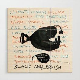 Black Anglerfish Wood Wall Art