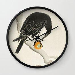 Crow eating persimmon Fruit - Vintage Japanese Woodblock Print Art Wall Clock