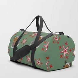 Green Deer pattern with Stars Duffle Bag