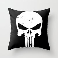 punisher Throw Pillows featuring The Punisher by sokteulu