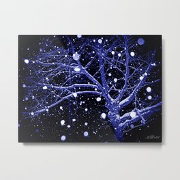 Dark Snowy Night Metal Print