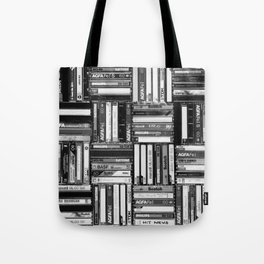 Music Cassette Stacks - Black and White - Something Nostalgic IV #decor #society6 #buyart Tote Bag