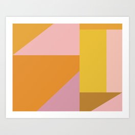 Shapes in Vintage Modern Pink, Orange, Yellow, and Lavender Art Print