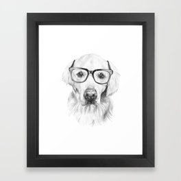 Studious Golden Retriever Framed Art Print
