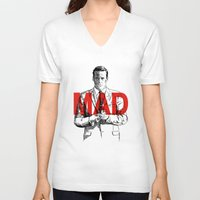 mad men V-neck T-shirts featuring Don Draper Mad Men by Mark McKenny