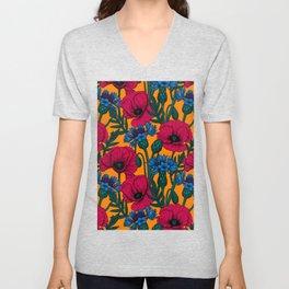 Red poppies and blue cornflowers Unisex V-Neck