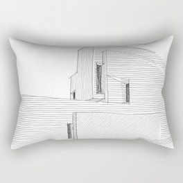 Angled - modern minimalist architecture - pencil drawing Rectangular Pillow