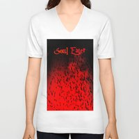 soul eater V-neck T-shirts featuring Soul Eater by Deb Adkins