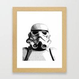 Stormtrooper Hand Drawn Dotwork - StarWars Pointillism Artwork Framed Art Print