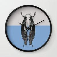 penguins Wall Clocks featuring Penguins by Zaneta Antosik