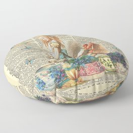 Vintage Alice In Wonderland on a Dictionary Page Floor Pillow