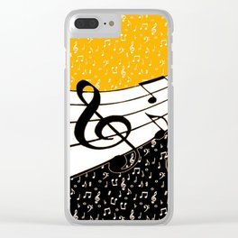 Gold music theme Clear iPhone Case