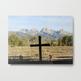 Cross and the Mountains Metal Print