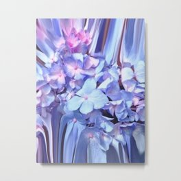 Abstract Flowers in Soft Blue and Pink Metal Print