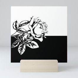 Single Rose Black and White Mini Art Print