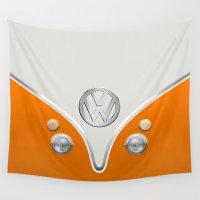 volkswagen Wall Tapestries featuring Orange Volkswagen Camper Van by Boback Shahsafdari