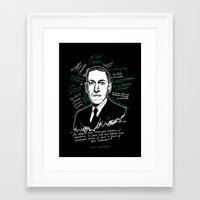 lovecraft Framed Art Prints featuring H.P. Lovecraft by darkscrybe