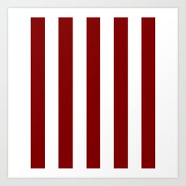 Maroon (HTML/CSS) red - solid color - white vertical lines pattern Art Print