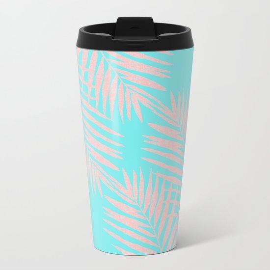 Abstract modern pink Tropical Exotic Palm Leaves on aqua by #Utart Metal Travel Mug
