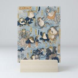 Famous Heroes of the Kabuki Stage Played by Frogs by Utagawa Kuniyoshi. Japaneses fine art. Mini Art Print