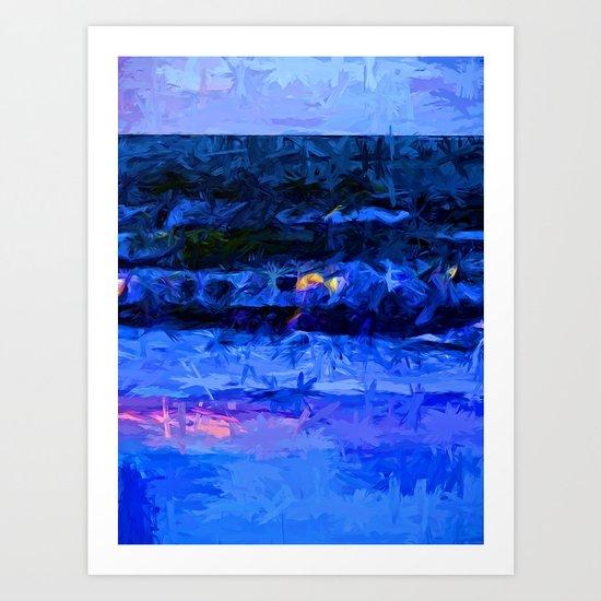Wild Blue Sea under the Lavender Sky Art Print