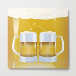 illustration of beer glass, Beer Metal Print