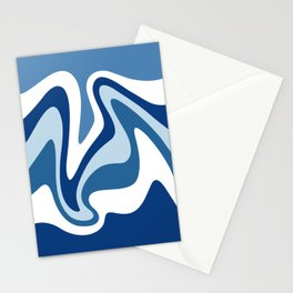 Liquid Mountain Abstract //Denim Blue and White Stationery Cards