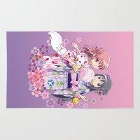madoka Area & Throw Rugs featuring Madoka Kaname & Homura Akemi - Love Yukata edit. by Yue Graphic Design