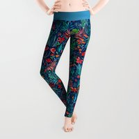 watercolor Leggings featuring Tropical Ink - a watercolor garden by micklyn