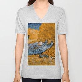 """Vincent van Gogh """"Noon: Rest from Work"""" Unisex V-Neck"""