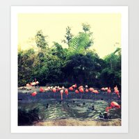 Pretty In Pink- Flamingos Art Print